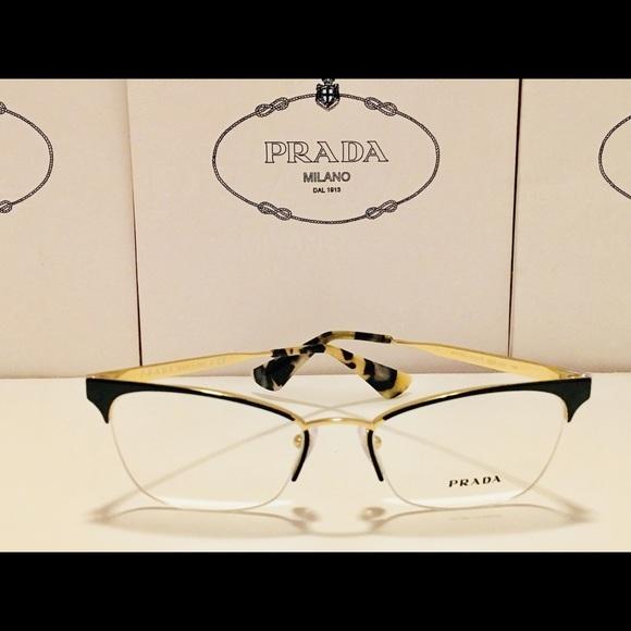 6fdf4eac56 Prada Eyeglasses VPR65Q Black   Pale Gold 51mm New.  M 5aa8416d2ab8c590431e27de